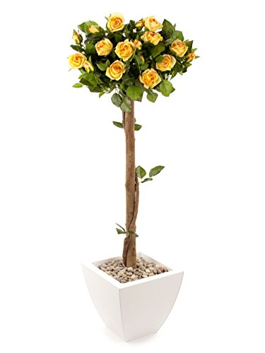 Closer to Nature Art Floral 4 ft Yellow Rosenbaum - impianto di seta artificiale e serie albero