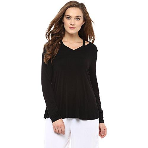Femella Fashions Black Jersey V Neck Top