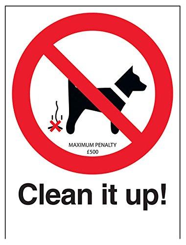 """vsafety 54006an-s """"clean it up/Pena máxima £500"""" prohibición Perro señal, autoadhesivos, vertical, 150mm x 200mm), color negro/rojo"""