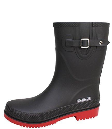 BOCKSTIEGEL® JETTE - Standard/K/KB Stivali di gomma corto per la Donna | Fibbia laterale alla moda | Logo del marchio | Produzione europea | Confortevole K black / red
