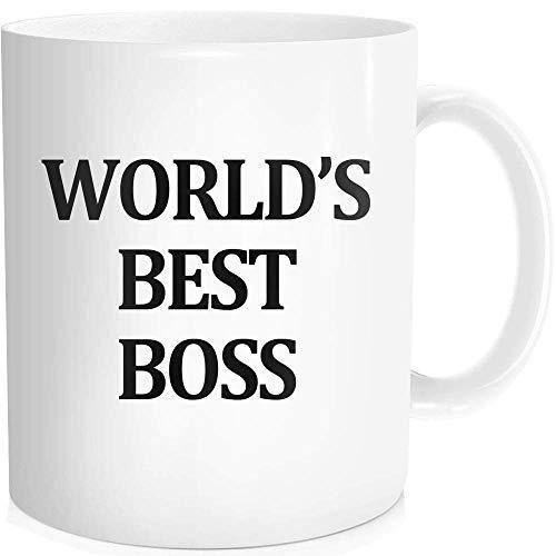 Lustige Kaffeetasse mit inspirierendem Zitat für Männer und Frauen - World's Best Boss The Office Tasse - Geschenkidee, weiße feine Knochen-Keramik, 325 ml (Klopfen Nicht Sie Halloween Auf)