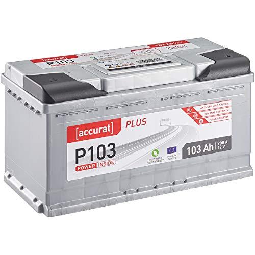Accurat Autobatterie Starterbatterie P103 Plus 103Ah 12V 900A-Kaltstartstrom Blei-Säure Ca-Technologie Nassbatterie für PKW/Transporter wartungsfrei