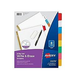 Avery Big Tab Write-On Dividers, 8-Tabs, 1 Set (23079)