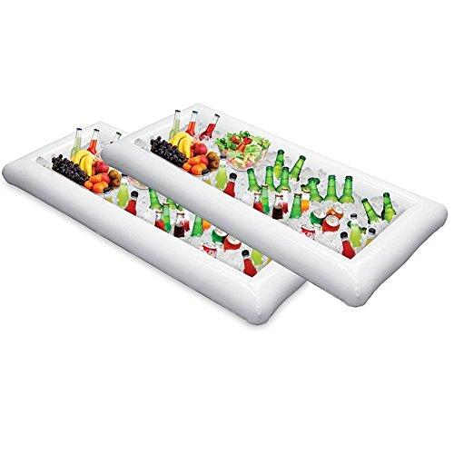2pezzi gonfiabile buffet Serving bar & insalata vassoio cibo e bevande Coolers per feste di compleanno laurea BBQ picnic grande, 130,8cm l x 62,2cm l x 12,7cm di profondità con tappo di scarico
