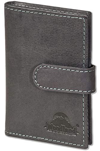 Woodland® XXL-Kreditkartenetui mit dem Protecto® und Platz für insgesamt 19 Kreditkarten, aus weichem naturbelassenem Büffelleder in Dunkelbraun/Taupe, Dunkelbraun