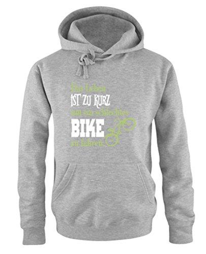 Comedy Shirts - Das Leben ist zu kurz um EIN schlechtes Bike zu Fahren - Herren Hoodie - Grau/Hellgrün-Weiss Gr. L