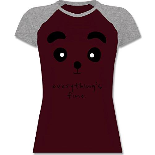 Shirtracer Eulen, Füchse & Co. - Panda Everything's Fine - Zweifarbiges Baseballshirt/Raglan T-Shirt für Damen Burgundrot/Grau meliert