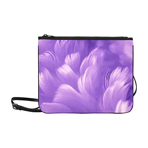 WYYWCY Abstract Feather Rainbow Patchwork Pattern Benutzerdefinierte hochwertige Nylon Slim Clutch Cross Body Bag Schultertasche