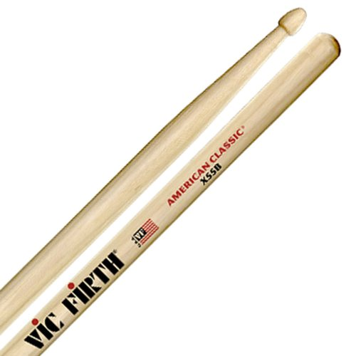 VIC FIRTH X55B Drum-Stick 5A American Classic-Serie, Hickory,Wood-Tip