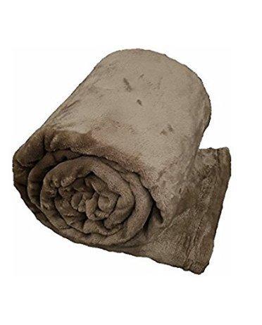 Morbida coperta plaid in pile matrimoniale tinta unita irge (matrimoniale 210x240cm, tortora)