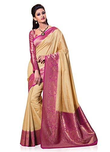 Meghdoot Women's Traditional Woven Kanchipuram Spun Silk Saree Beige and Pink Color Sari