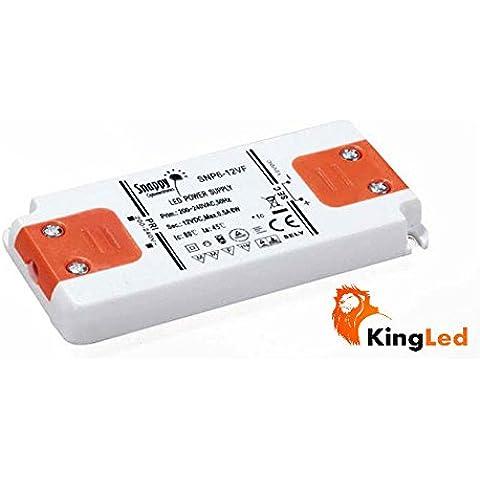 Enclosed KingLed-Alimentación LED Snappy, 6W 12 V, 0,5 a, Tensión Constante, SNP 6-12 Vf, 1 Salida, Transformador, 220 V, AC a DC 12 V, Modelo 2061