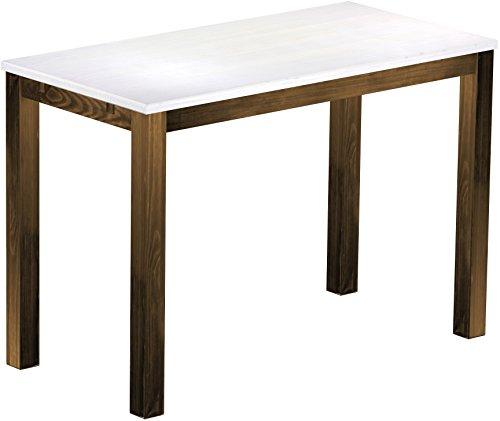 Brasil Meubles Haut 'Rio Classico' Table 200 x 80 cm, Pin Massif, Teinte Snow – Chêne Antique