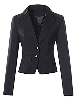 Lrud Women Double Button Tailored Crop Blazer Jacket Suit Slim Fitted Casual Business Evening Lapel Long Sleeve Coat 2