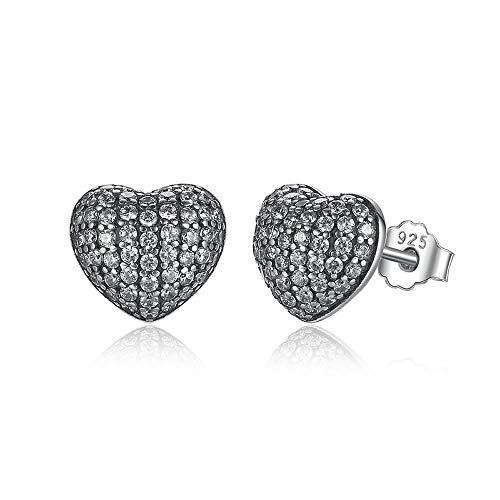 Silver in my heart brincos - orecchini a lobo in argento sterling 925 con pavé di zirconi cubici trasparenti, da donna