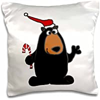 All Smiles Art Christmas - Funny Black Bear in Santa Hat with Candy Cane Christmas art - 16x16 inch Pillow Case