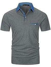3cbaaaec93b08 GHYUGR Men s Short Sleeve Polo Shirts Denim Contrasting Colors Golf Tennis T -Shirt