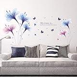 QTZJYLW Lila Traum Blume Pflanze Muster Wandaufkleber Wohnzimmer Sofa Tv Wanddekoration Schlafzimmer Nachttisch Romantische Aufkleber (60 × 90 cm)