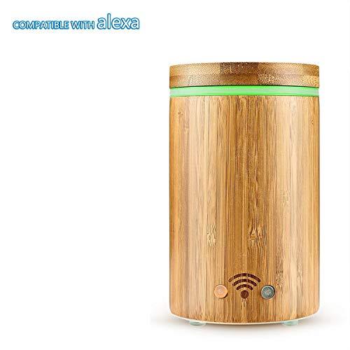 Leyruk Diffusore di aromi Smart WiFi da 160 ml compatibile con Alexa Bamboo Diffusore di aromi di olio essenziale umidificatore ad ultrasuoni con 7 luci colorate e spegnimento automatico