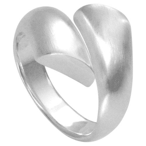 Vinani Ring breit dreidimensional gedrehte Bänder schlicht mattiert glänzend Sterling Silber 925 Größe 54 (17.2) RPL54 - Band-ringe Breites Silber