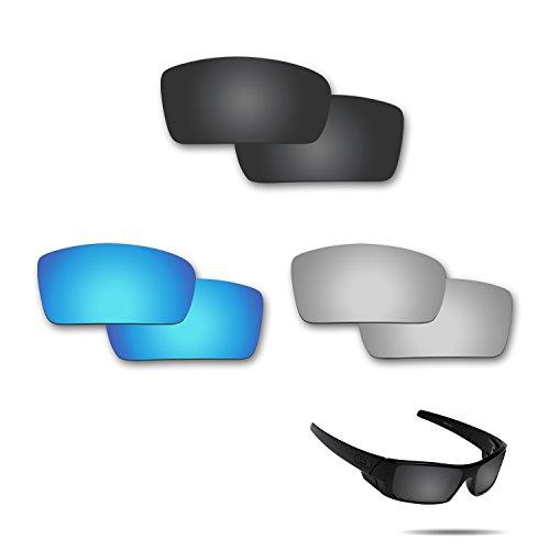 fiskr anti-saltwater Polarisierte Ersatz Gläser für Oakley Gascan 3Paar Pack, Stealth Black & Metallic Silver & Ice Blue