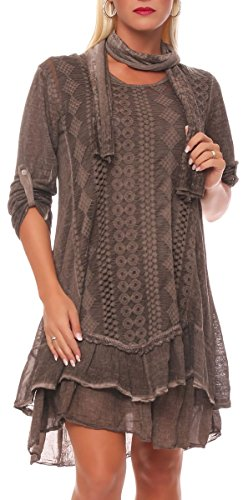 malito Damen Strickkleid mit Schal | Maxikleid mit Spitze | schickes Freizeitkleid | Pullover – Kostüm 6283 (braun)