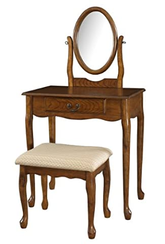 Powell Company Woodland Oak Vanity Mirror and Bench
