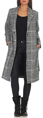 malito Damen Mantel kariert | eleganter Trenchcoat mit Gürtel | weicher Dufflecoat | Parka - Jacke 31871 (schwarz, L)