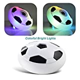 #4: Siddhi Vinayak™Indoor Outdoor Air Power Soccer Football Hover Disk Ultraglow with Foam Bumpers and Light up LED Lights with Music -Best Birthday Gift