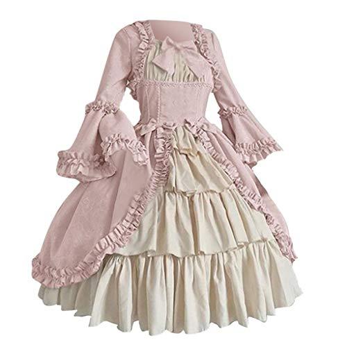 Kleid Erwachsene Renaissance Kostüm Für Prinzessin - Xiangdanful Mittelalter Kleid Ballkleid Lolita Halloween Vintage Cosplay Kostüm Gothic Renaissance Court Hexenkostüm Viktorianisches Prinzessin Maxikleid für Festliche Party Karneval (S, Rosa)
