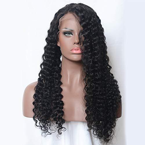 PKQ® 100% Echtes Human Hair Perücken Damen Front Lace Perrücke Frauen Lang Wellig Locken Hohe Qualität Menschliche Haar Vordere Spitze Perücke Long Gelockt Wigs for Women Curly - Kostüm Brasiliano