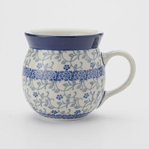 Polish Pottery Lady Mug - Forget-me-not - 8.5cm H X 8cm D