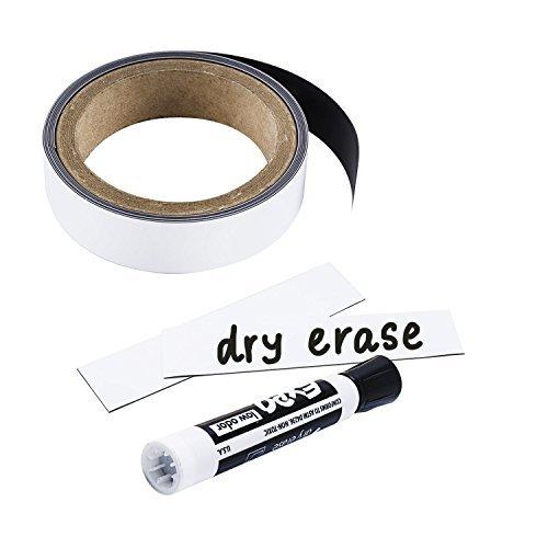 houseables magnetisch Rolle, Dry Erase Magnet Streifen, weiß glänzend, 2,5cm breit x 25'lang, Schreiben, auf, Wischen Off, magnetisch Receptive Whiteboard Tabelle, Board Magnete, für Zuhause, Büro -