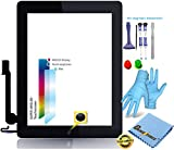Premium  Retina Touch Screen Vetro Digitizer Nero per Apple iPad 4 Display, Original MFC Flex Cavo, Home Button - incl. 9 in 1 professionale strumento Set di Best - NERO Black - Nuovo