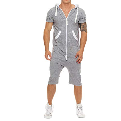 Nyuiuo Sommer Herren Sportswear Fashion Solid Color Patchwork Kontrast Slim Kapuzen Sweatshirt Herren Sommer Casual Kontrast Lose Kurzarm Reißverschluss Tasche Sport Set -