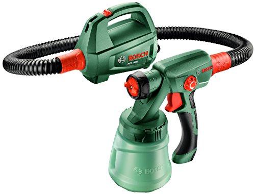 Bosch DIY Farbsprühsystem PFS 2000, Farbbehälter 800 ml, Düse für Lacke und Lasuren (grau), Düse für Wandfarbe (weiß), Schultergurt, Farbfilter, Karton (440 W, 200 ml/min, 1,5 m²/min)