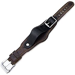 20mm Hezzo Bund Military Style Double-layer Watch Strap, Scratch Brown Pattern Leather