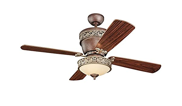 Monte Carlo 4VG42 28TBD L Villager Flush Mount Ceiling Fan With Light 42 Tuscan Bronze Amazonin Home Kitchen