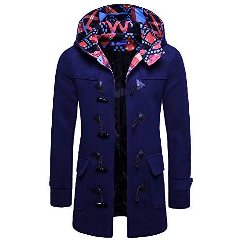 Kltipeng Herren Pullover, Männer Hörner Schnallen Jacke Winter Graben Langen Outwear-Taste Smart Overcoat Mäntel(EU-48/CN-XL,Marine)