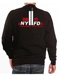 'Sudadera 9/11Never Forget–Never Again–Bomberos de Nueva York, negro, medium