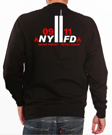 """'Felpa """"9/11Never Forget-Never Again-New York Vigili Del Fuoco, nero, M"""
