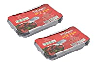 Freshee Pack of 2 x 10 pcs Aluminium Silver Foil Container 750ml| 100% Recyclable Food Storage Disposable Containers with Lid For Kitchen | Bacteria Resistant