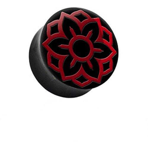 22mm Red Lotus-Blume Kontur natürlichen organischen Wasser Inlay Buffalo festen Ohr Horn Piercing-Stecker-Tunnel Sattel Qualität hochwertigen ()