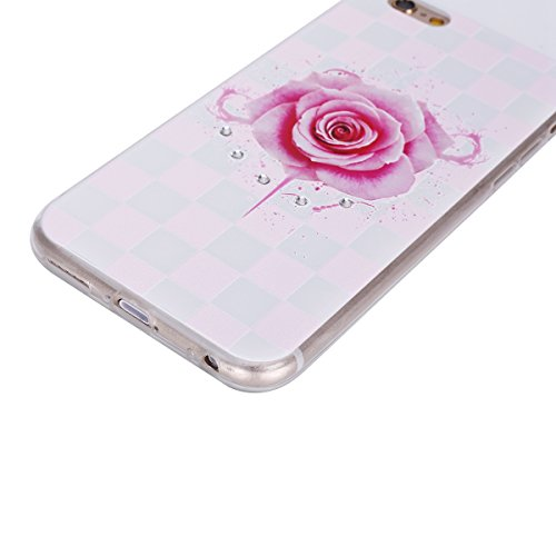 """Etsue Diamant Strass TPU Case für iPhone 6 Plus/6S Plus 5.5"""" Silikon Schutzhülle, Glänzend Glitzer Strass Kristall Diamant Blume Handytasche Crystal Clear Transparent Rahmen Durchsichtig Rückseite Cas Bling,Pink Flower Blossom"""