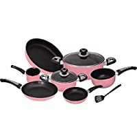 Ceramic Non Stick Cookware Set 10 Pieces - Pink