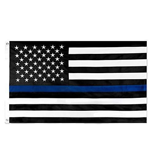 Deanyi Thin Blue Line Flag 3x5 Ft Nylon Gestickte Sterne Genäht Stripes Blue Line USA Banner Flaggen für Polizei und die Strafverfolgungsbehörden Home dekor -