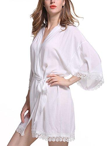Feoya Damen Morgenmantel Baumwolle Bademantel 3/4 Ärmellänge Nachtwäsche V-Ausschnitt Bademantel Schlafanzug mit Gürtel Weiß