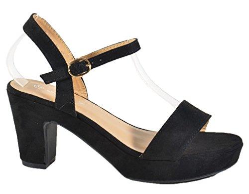 King Of Shoes Damen Riemchen Abend Sandaletten High Heels Pumps Slingbacks Velours Peep Toes Party Schuhe Bequem 601 (40, Schwarz)