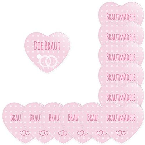 Werbewas 12er Set Herz Buttons für feierliche Anlässe - Hochzeit - Junggesellenabschied / JGA Party - Trauung (38mm) Motiv Brautmädels - rosa mit Nadel-Anstecker