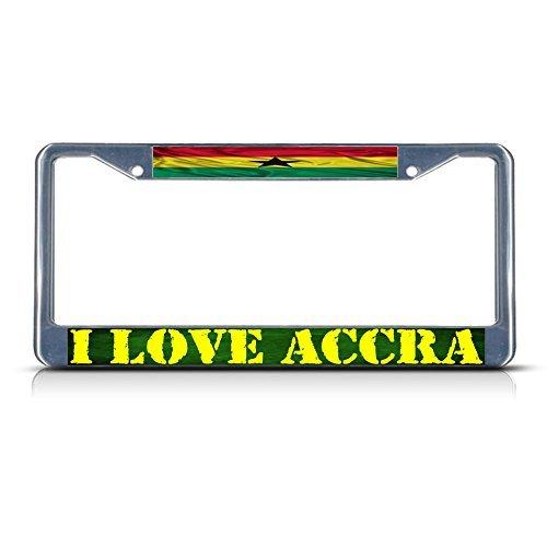 I love ACCRA, Ghana gewellt Flagge Ghana Metall Chrom Nummernschild Rahmen